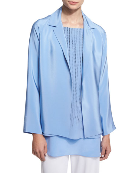 Shamask Notched-Collar Open-Front Jacket, Round-Neck Screen-Print