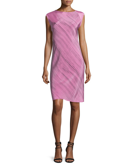 Shamask Sleeveless Grid-Print Spiral Dress, Pink