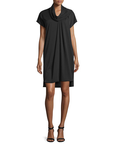 Short-Sleeve Serape Shift Dress, Black