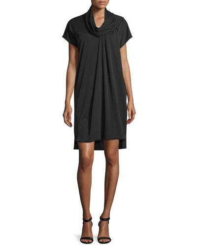 Short-Sleeve Serape Shift Dress, Black
