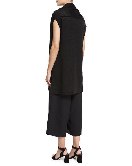 Open-Front Long Sweater Vest, Black