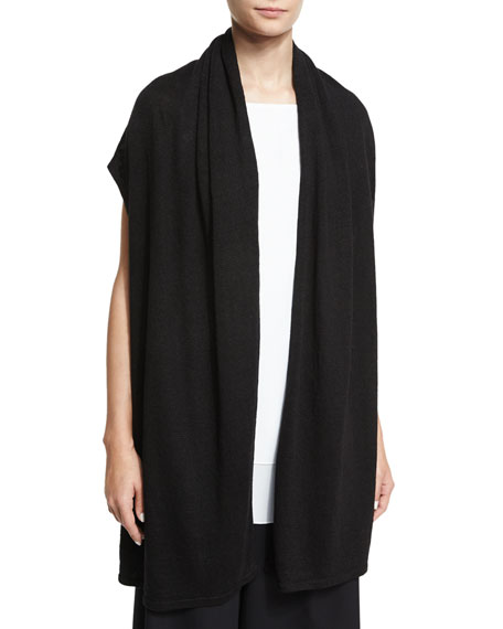 Open-Front Long Sweater Vest, Black
