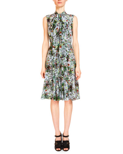 Sleeveless Tie-Neck Floral-Print Dress, Light Blue/Multi
