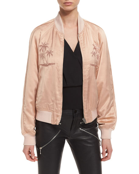 Souvenir Embroidered Bomber Jacket, Blush