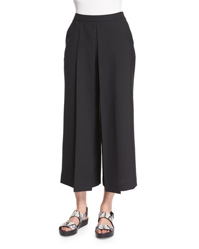 Pleated-Front Wide-Leg Cropped Pants, Jet