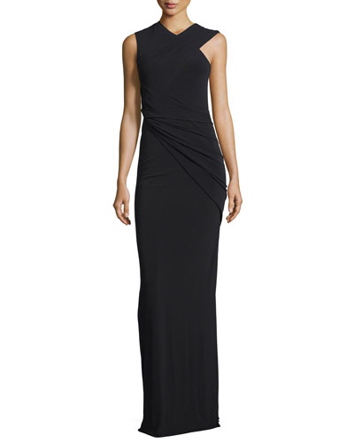 Sleeveless Asymmetric-Drape Gown, Jet
