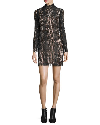 Python-Lace Long-Sleeve Turtleneck Dress, Jet