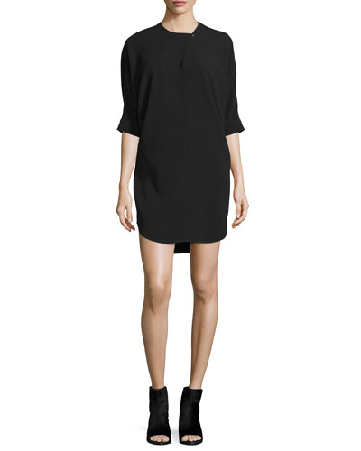 Half-Sleeve Jewel-Neck Shirtdress, Jet