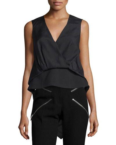 Sleeveless Draped-Front High-Low Top, Jet