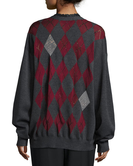 Argyle-Intarsia V-Neck Cardigan, Balsamic