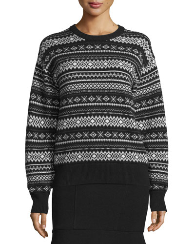 Fair Isle Burnout-Back Sweater, Jet