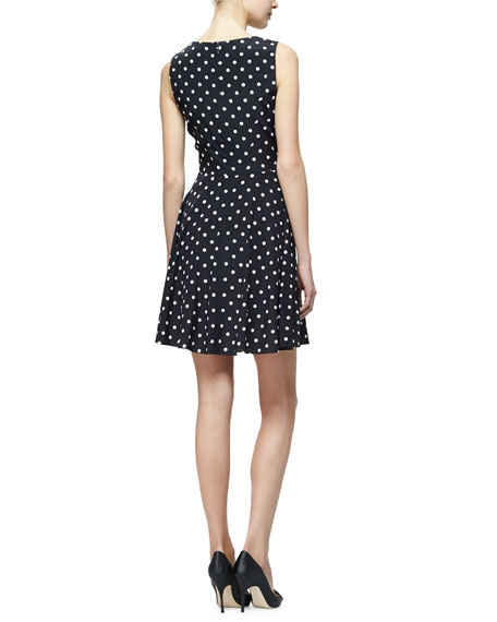 Polka-Dot Fit-&-Flare Dress, Black/White