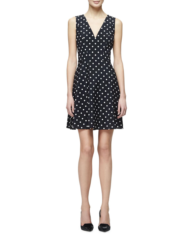 Carolina Herrera Polka-Dot Fit-&-Flare Dress, Black/White | Neiman ...