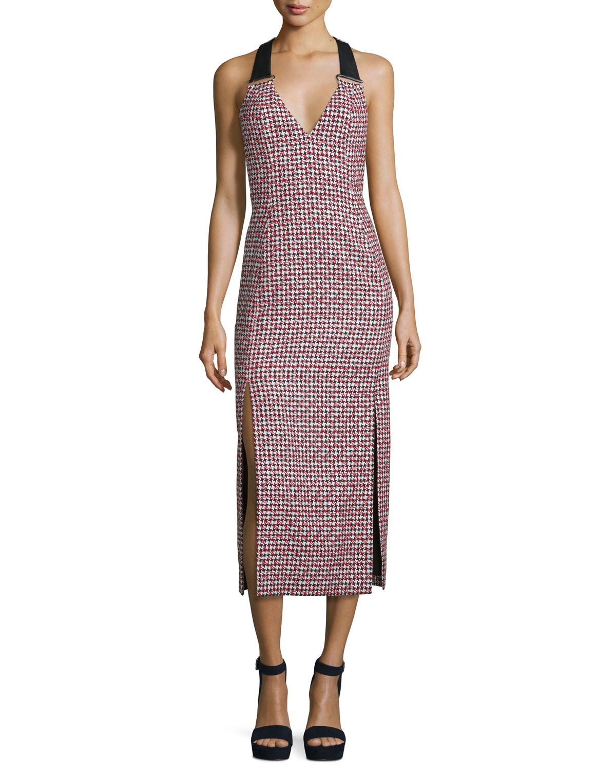 59a5593c7a41 Thierry Mugler Houndstooth Sleeveless Midi Dress