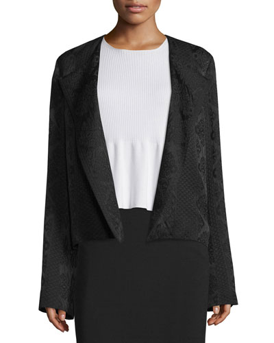 Iruma Open-Front Ripple Textured Jacket, Black