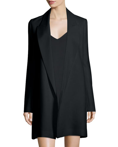 Russo Open-Front Long Jacket, Black
