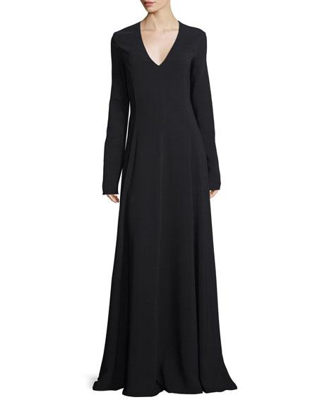 THE ROW Seri Long-Sleeve V-Neck Gown, Black