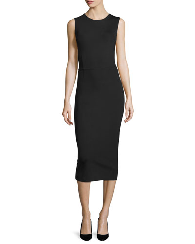 Dassah Sleeveless Midi Dress, Black