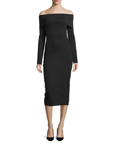 Nania Off-The-Shoulder Midi Dress, Black