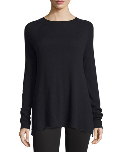 Banny Long-Sleeve A-Line Sweater, Black