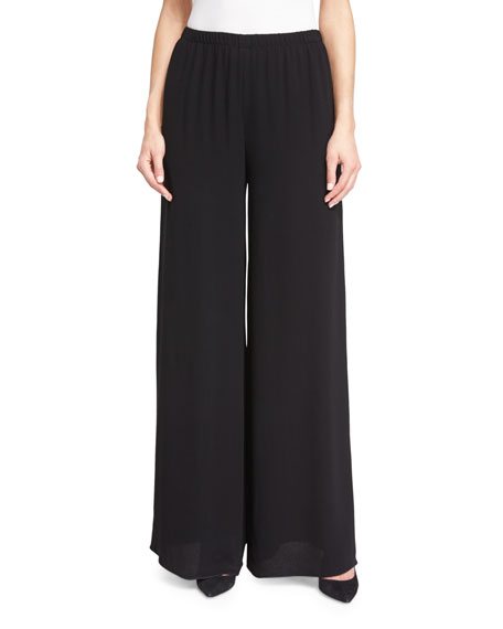 THE ROW Lene Elastic-Waist Wide-Leg Pants, Black
