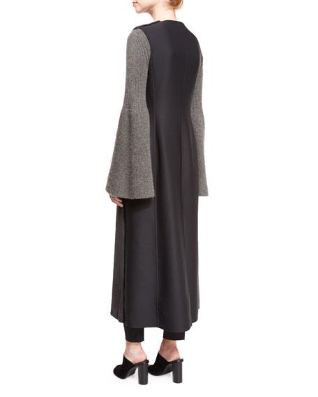 Seddy Mink-Fur Long Vest, Dark Gray