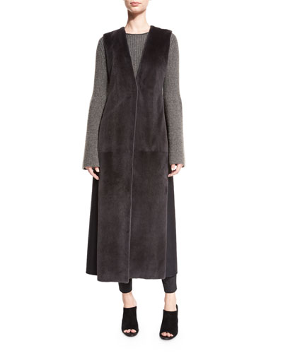 Seddy Mink-Fur Long Vest, Dark Gray