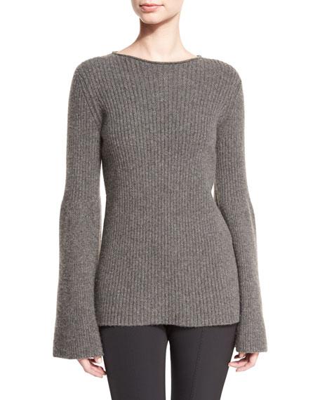 THE ROW Atilia Ribbed Bell-Sleeve Sweater, Dark Gray Melange