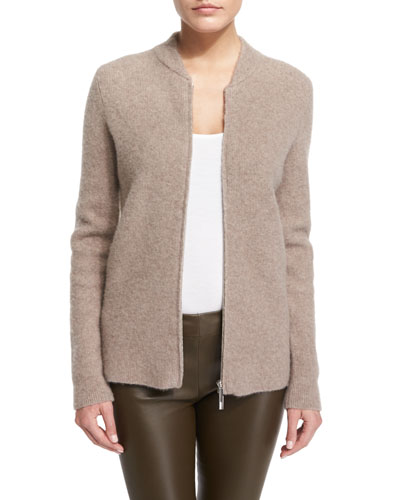 Thera Zip-Front Bomber Sweater, Dark Taupe