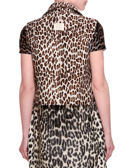 Fur-Free Leopard-Print Gilet Vest