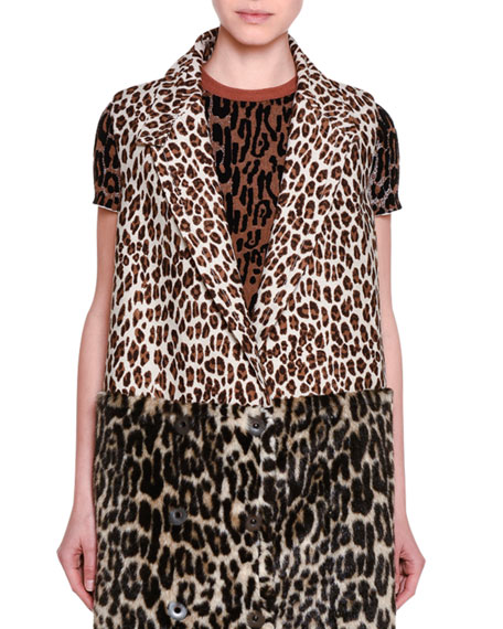 Stella McCartney Fur-Free Leopard-Print Gilet Vest & Short-Sleeve