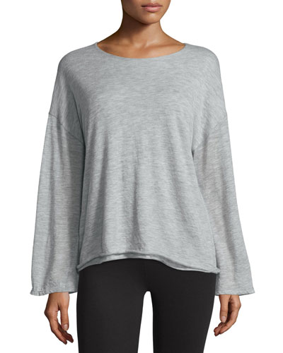 Zadie Dropped-Shoulder Cashmere Top, Pebble Gray