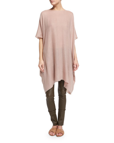 Shells Half-Sleeve Cashmere Tunic Top, Pink Taupe