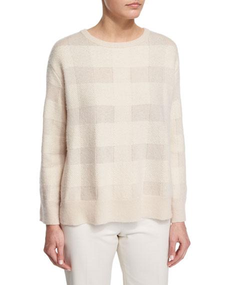 THE ROW Ratia Long-Sleeve Plaid Sweater, Cream Plaid