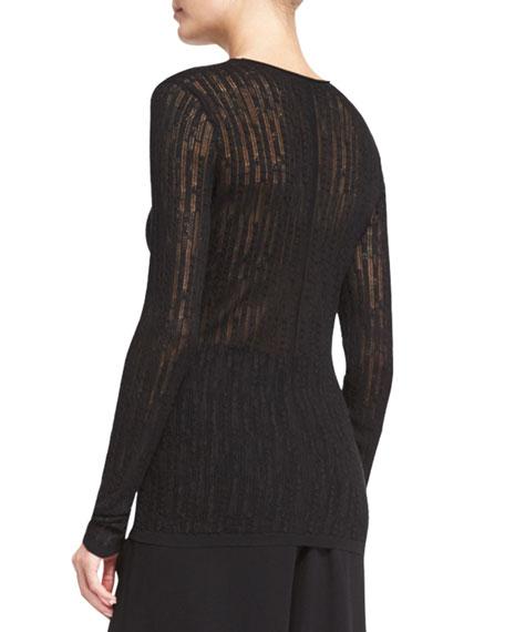 Catalina Long-Sleeve Mesh Sweater, Black