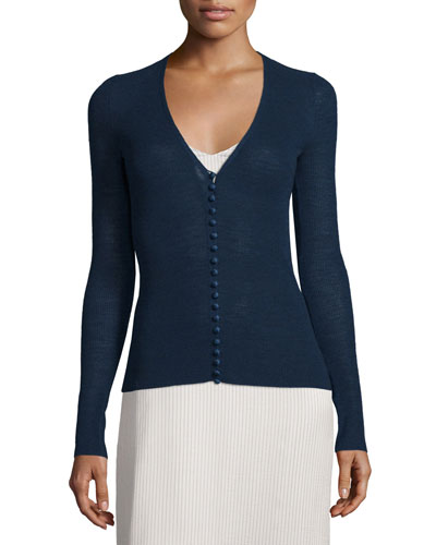 Jair V-Neck Button-Front Cardigan, Marble Bright Blue