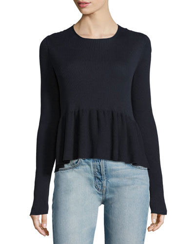 Keely Flounce-Hem Sweater, Dark Navy