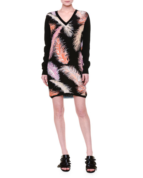 Emilio Pucci Long-Sleeve Feather-Print Sheath Dress, Black/Multi