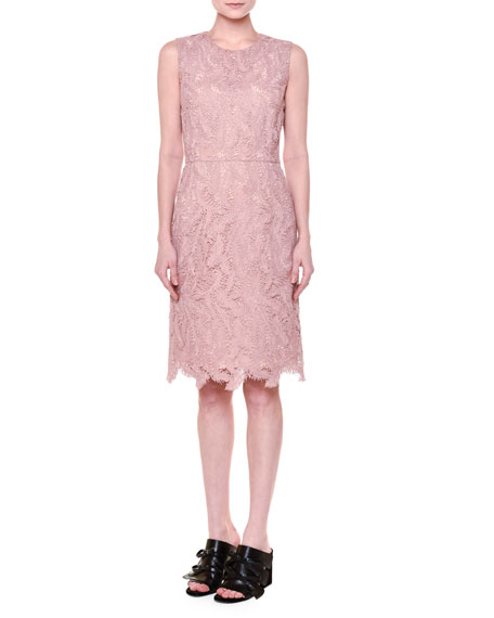 Emilio Pucci Sleeveless Feather-Macrame Dress, Dusty Pink