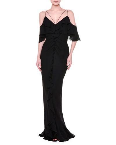 Flutter-Sleeve Cold-Shoulder Gown, Black