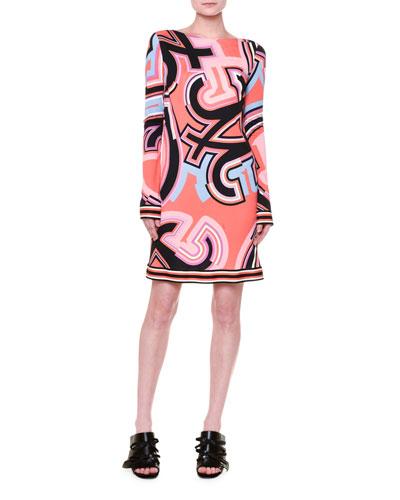 Marlyn Long-Sleeve Monogram-Print Dress, Coral/Multi