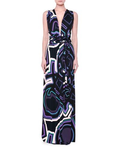 Crisscross-Back Monogram-Print Maxi Dress, Navy/Purple