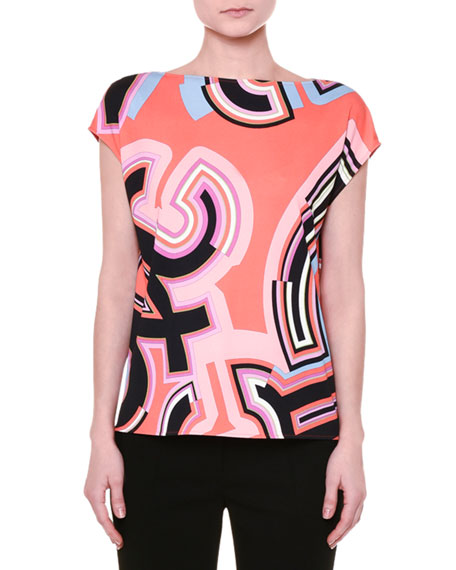 Cap-Sleeve Monogram-Print Top, Coral/Multi