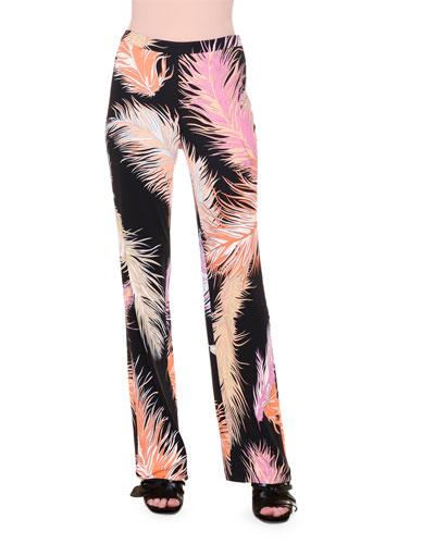 Feather-Print Wide-Leg Pants, Black/Orange