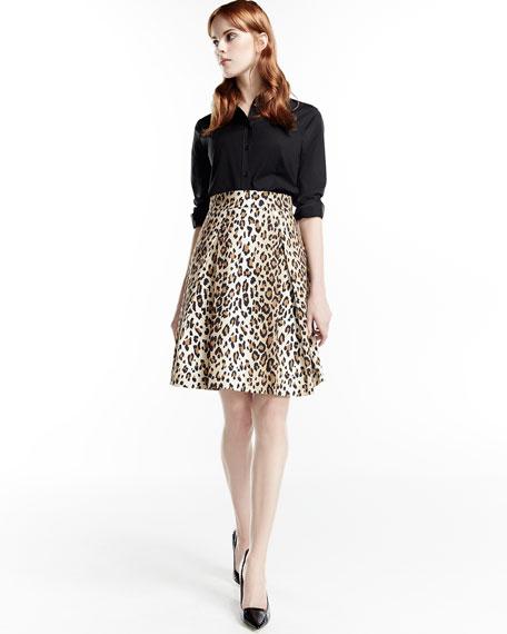 Cheetah-Print Pleated A-Line Skirt, Black/Camel