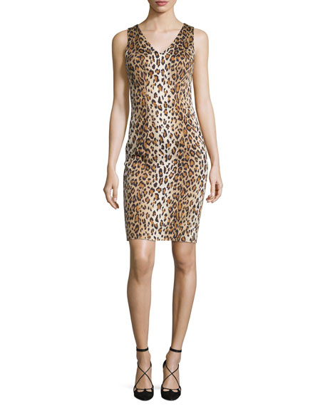 Sleeveless Cheetah-Print Sheath Dress, Cheetah