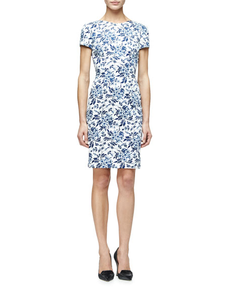 Carolina Herrera Short-Sleeve Floral-Print Sheath Dress, Blue