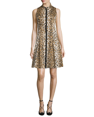 Sleeveless Cheetah-Print Shirtdress, Cheetah
