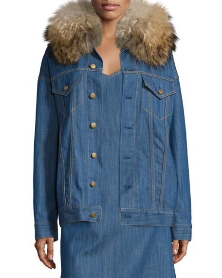 Adam Lippes Fur-Collar Button-Front Denim Jacket, Blue Indigo