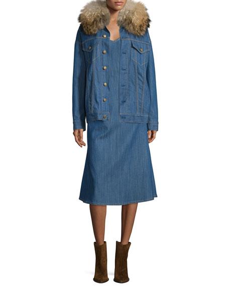 V-Neck Denim Tank Dress, Blue Indigo